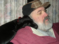 Velvet at 8 weeks sleeping on Mike's shoulder.