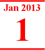 Calender page for January 1, 2013