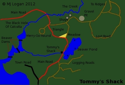 A map of the area around Tommy's Shack in Northern Wisconsin.