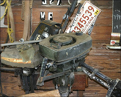 A picture of old outboard motors.