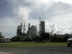 Paper Mill with stacks spewing smoke into the air