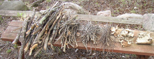 The basic fire building materials: larger sticks for fuel, smaller sticks for kindling, twigs and birch bark for tinder with a larger piece of bark as a tinder base.